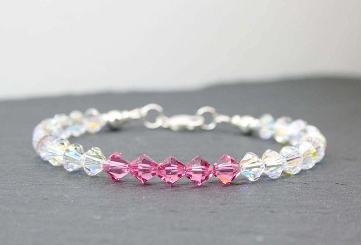 Aurora Borealis Bracelet, Pink Crystal Bracelet, Rainbow Crystal Bracelet, Sterling Silver, Swarovski Crystals, 21st 30th Birthday Gift by MystiqueBlueJewelry on Etsy