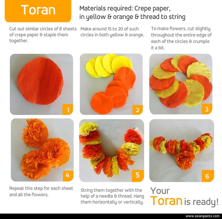 Give a spin to tradition with a touch of the handmade. Weave clusters of orange and yellow flowers (torans) that will last throughout the festive season! #DIY