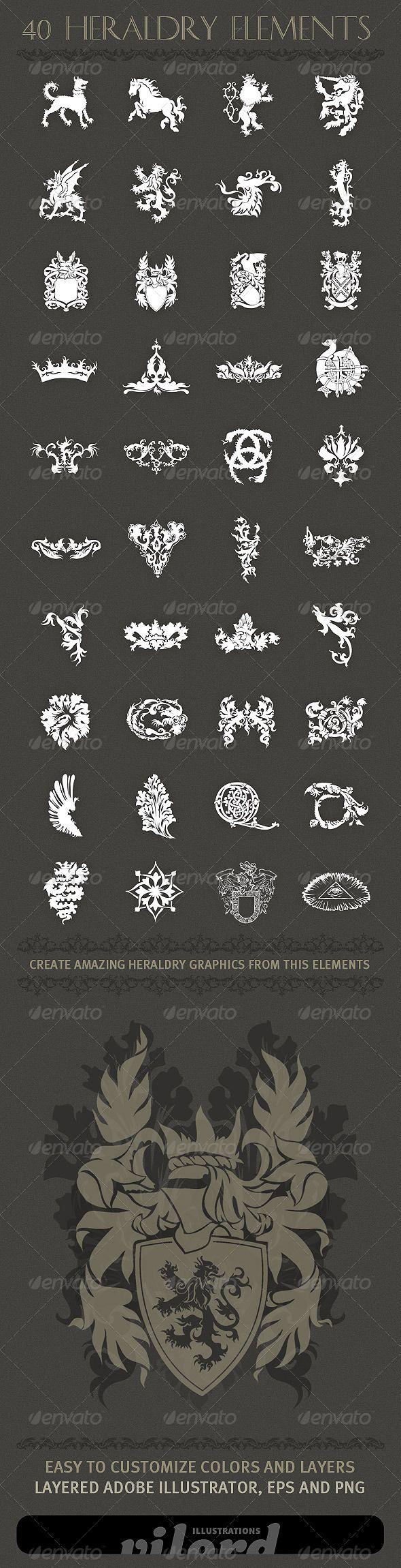 40 Heraldry Crest Elements