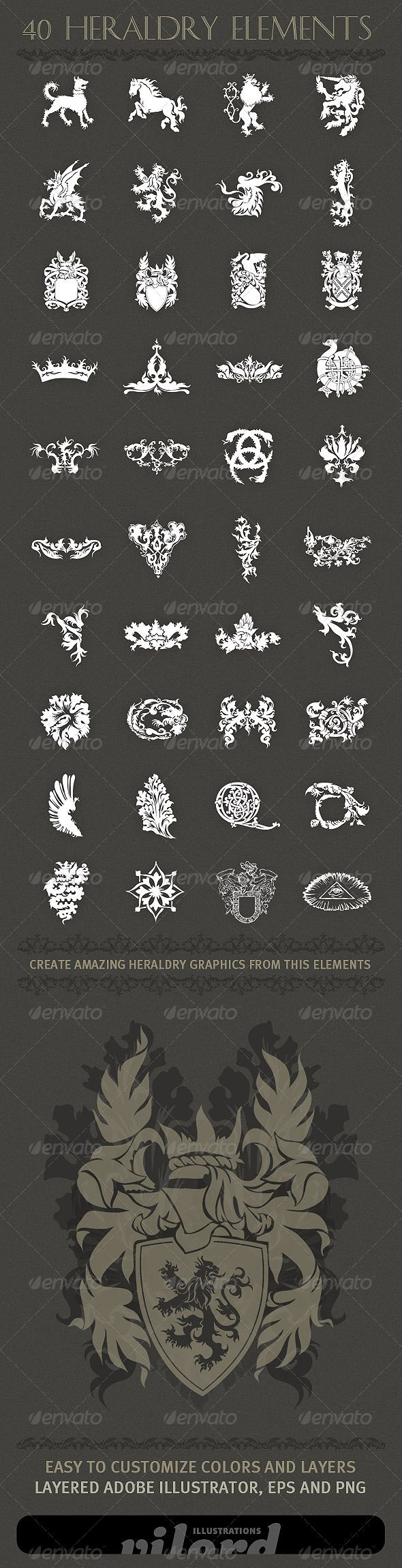 40 Heraldry Crest Elements - Decorative Symbols Decorative