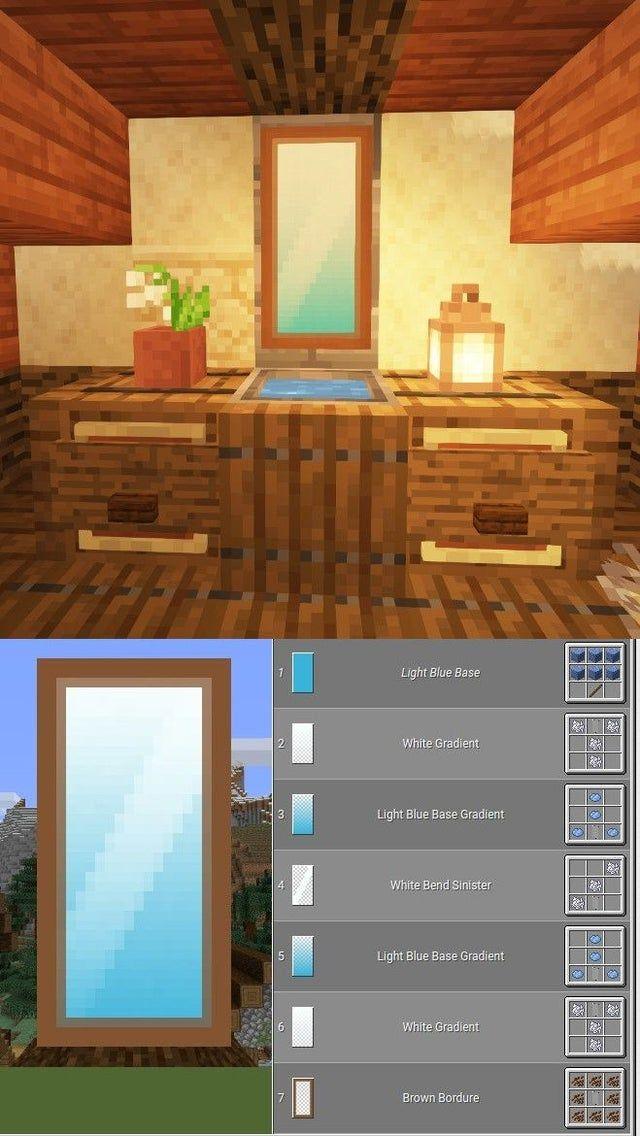 How To Make A Mirror In Minecraft Minecraft In 2020 Minecraft Banners Easy Minecraft Houses Minecraft House Tutorials