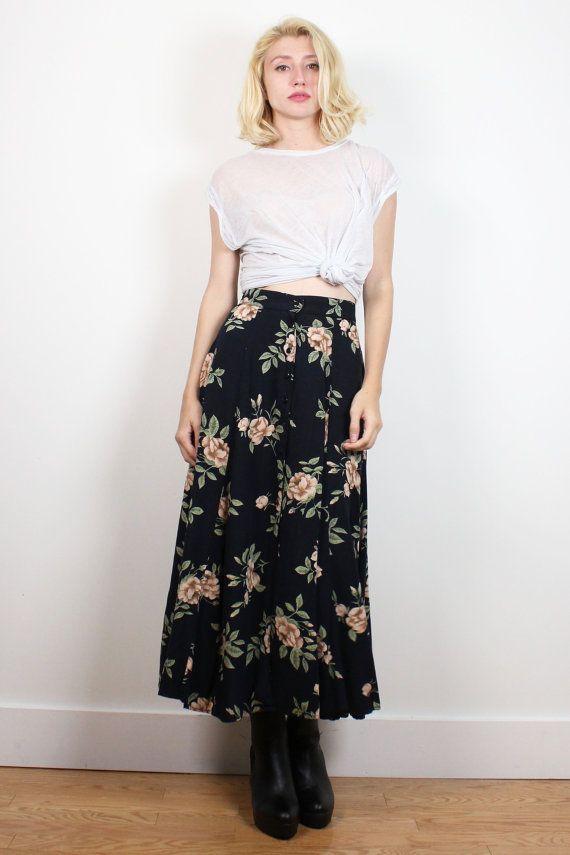 Vintage 1990s Midi Skirt Dark Navy Blue Black Rose Ditsy Floral Print Maxi Skirt…