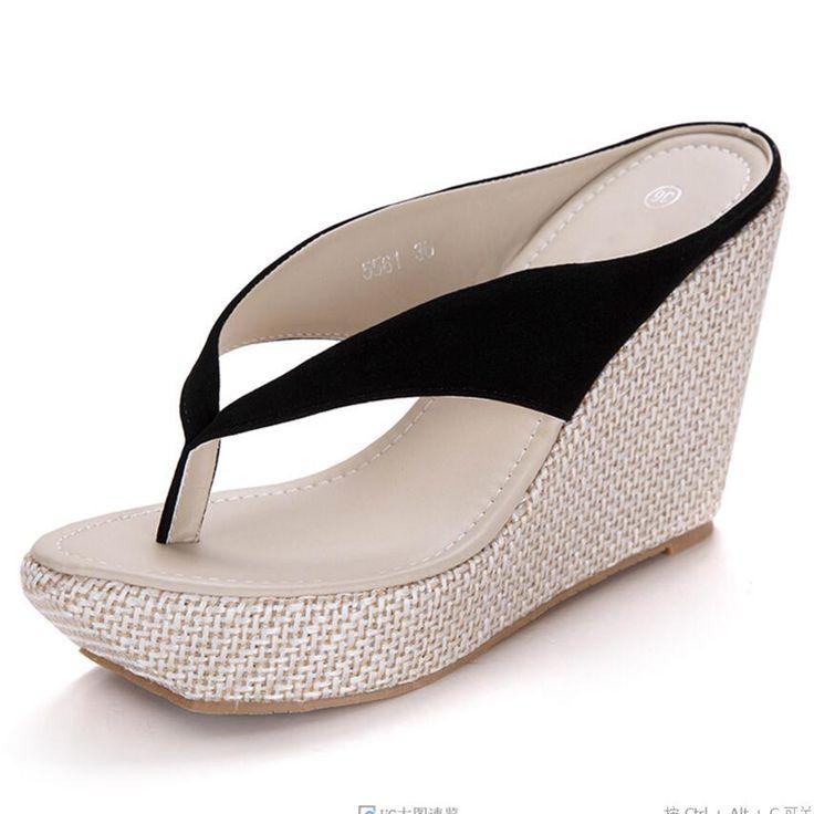 Womens Girls Ladies Plateau Flip Flops Wedge Sandalen Slip auf Antiskid Strand Pantoffeln  42 EURosa