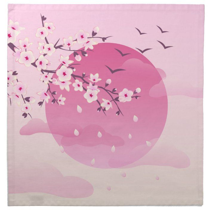 Cherry Blossoms Japanese Landscape Cloth Napkin Zazzle Com Cherry Blossom Painting Cherry Blossom Drawing Blossom Tree Tattoo