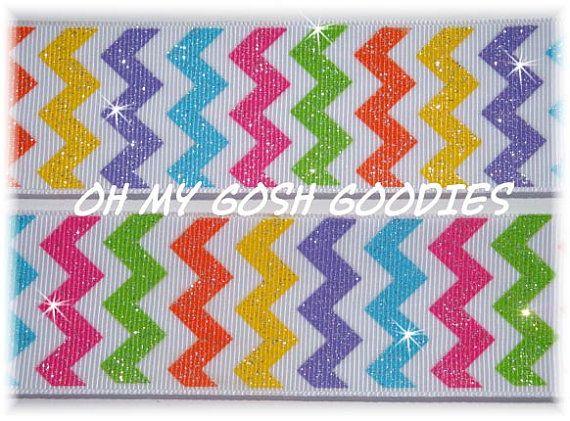 GLITTER CHEVRON MULTI Bright Grosgrain Ribbon by omygoshgoodies
