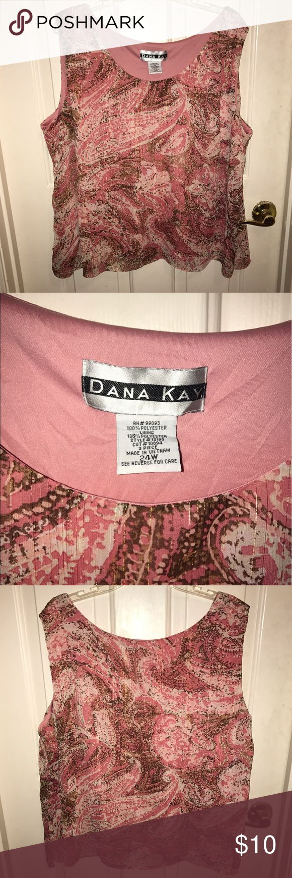 💙DANA KAY💙Sleeveless Pink/ Sparkling Blouse 💙DANA KAY💙Pink/ Brown/ Ivory Sleeveless Blouse. Gold sparkle throughout the blouse. 100% polyester. Fully lined. Size - 24W. Dana Kay Tops Blouses