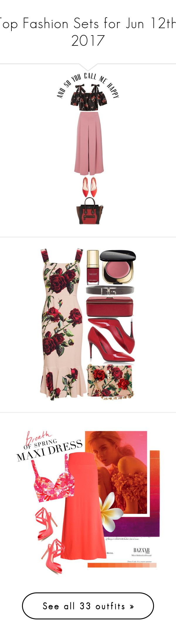 """Top Fashion Sets for Jun 12th, 2017"" by polyvore ❤ liked on Polyvore featuring TIBI, MANGO, CÉLINE, Dolce&Gabbana, Dynamic Rugs, WithChic, Michael Kors, Gianni Bini, Esme Vie and Etro"