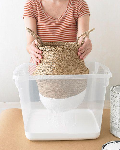 great project idea: dip-dyed baskets as seen on @Holly Hanshew Becker, via martha stewart