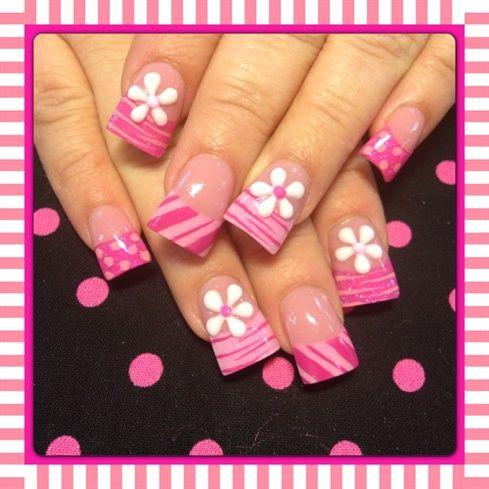 Pink and white 3-d flowers by Oli123 - Nail Art Gallery nailartgallery.nailsmag.com by Nails Magazine www.nailsmag.com #nailart