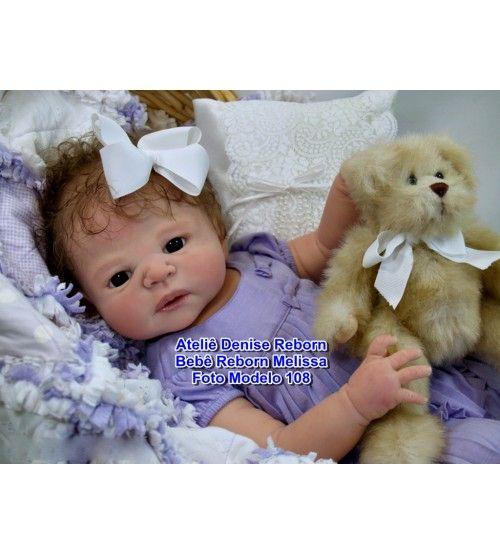 Bebê Reborn Melissa corpo inteiro em vinil siliconado macio 6 meses de idade