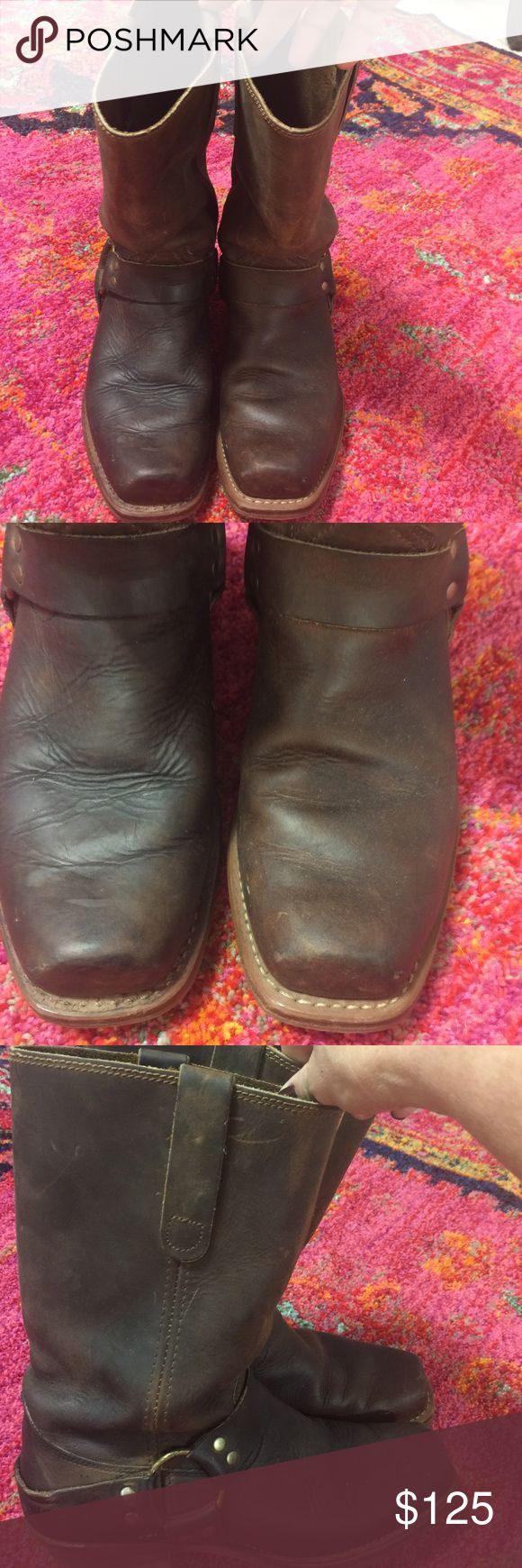 Frye Harness Boots These boots are just plain indestructible! Though they have wear, they aren't damaged anywhere, and in my opinion are just broken in. They look like you want them to look when you put them on. Rugged, 'don't mess with me' boots! No trades, no lowball offers PLEASE. Frye Shoes