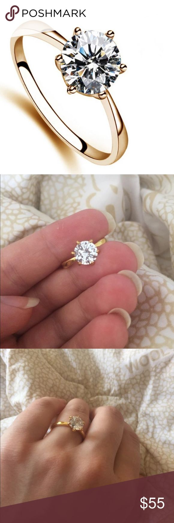 New 18 k yellow gold engagement ring Brand new 18 k yellow gold filled with lab created diamonds engagement wedding ring. Also have wedding ring sets, engagement rings , wedding bands in my listing for sale. Available in all sizes. Swarovski Jewelry Rings