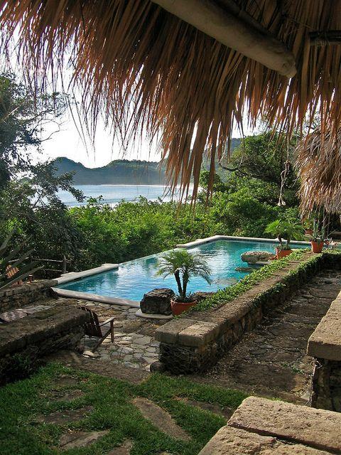Pool and ocean view from lodge, Morgan�s Rock, #Nicaragua