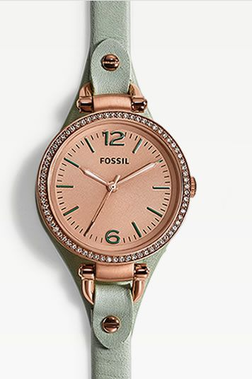 Watches | Handbags | Charms | Clothing | FOSSIL LOVE this! Rose-gold and mint <3
