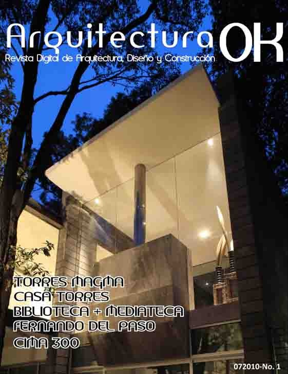 http://www.cosasdearquitectos.com/2010/08/revista-mexicana-arquitecturaok/  El pasado mes de julio vio la luz el primer número de la revista mexicana de Arquitectura, Diseño y Construcción – ArquitecturaOK. Os dejamos con la nota de prensa que nos han enviado. ¡Esperamos vuestra opinión!.