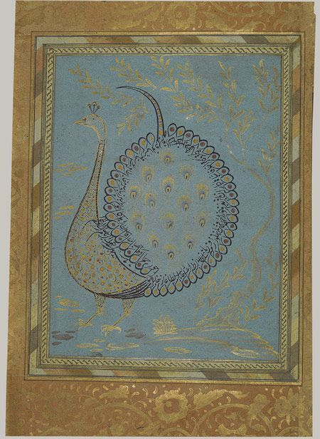 Calligraphic composition in the shape of a peacock: Folio from the Bellini Album [Turkey] (67.266.7.8R) | Heilbrunn Timeline of Art History | The Metropolitan Museum of Art