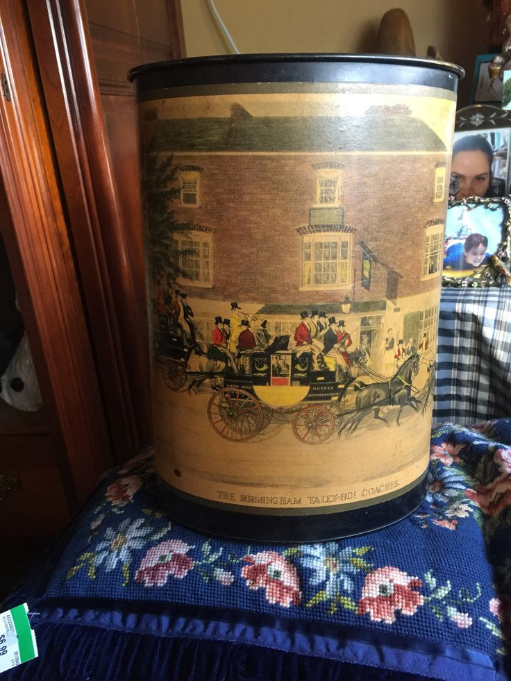English Country The Birmingham Tally -Ho Coaches Victorian trash can by FrenchCountryGirl on Etsy