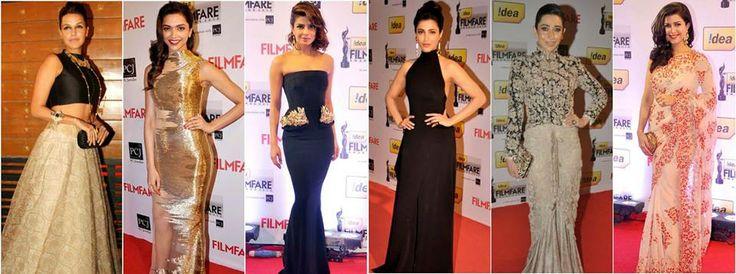 Who among these gorgeous ladies do you think was the best dressed at the Filmfare Awards 2014?  http://www.kayfashions.in/#!/ #fashion #indian #weddings #bridal #lehenga #ghagra #anarkali #salwar #designer #ethnic #boutique #chennai #shopping #triplicane #dress #clothes #traditional #saree #sari #silksaree
