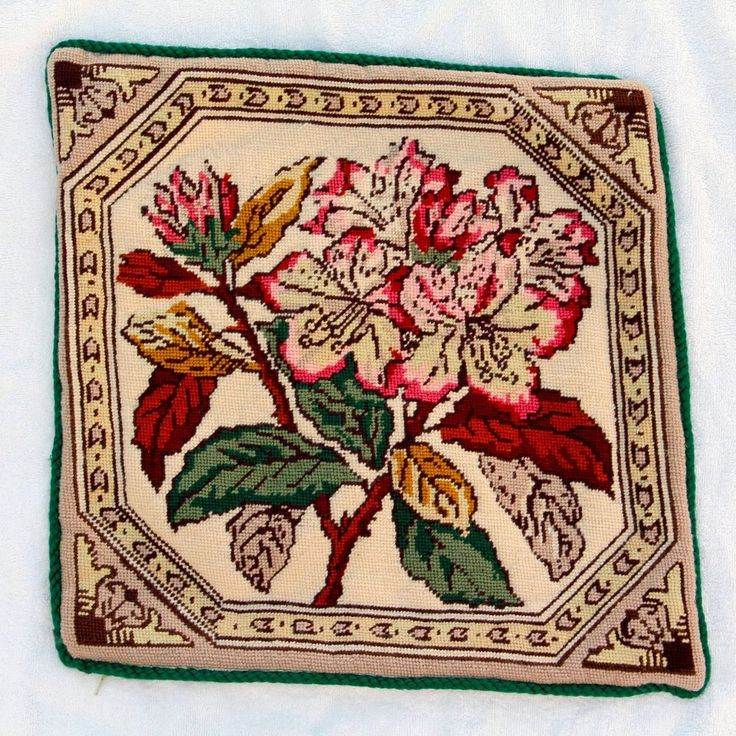 Cross Stitch Floral Tapestry Handmade Cushion Cover 14.5in Square Vintage