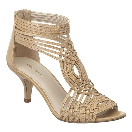 "Strappy caged 2.5"" sandal with leather upper.  Back zipper closure.  This style is available exclusively @ Nine West Stores & ninewest.com."