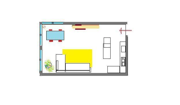 la disposizione degli arredi deve sempre rispettare delle distanze che permettano l'uso ergonomico degli spazi di comunicazione. Per dare la giustanza distanza, ad esempio: dal piano di cottura-lavaggio è bene lasciare 80-120 cm. Invece dal tavolo alla zona salotto sempre almeno 80 cm, fino a 150 a seconda delle situazioni. Mentre per la parete attrezzata e distanza dal divano, deve essere almeno 2 mt.  http://s14.postimg.org/m5wzgro1d/RIDISPOSIZIONE_LIVINGjpg.jpg