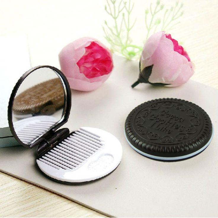 Neue Art Und Weise Nette Schokolade Cookie Förmigen Design Make-Up Tasche mit 1 Kämmen Dame Frauen Make-Up Aufbewahrungskoffer Reise Make-Up Tasche