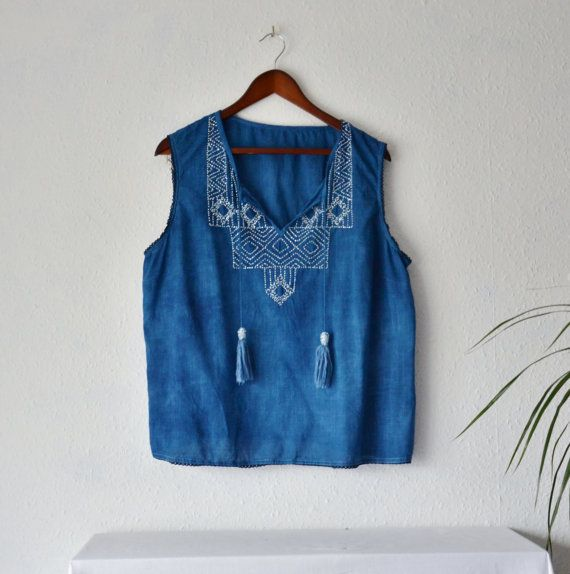 Boho blouse top eco dyed cotton natural indigo by EthicalLifeStore