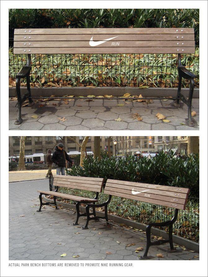 藉由公園長椅傳達出nike無處不是挑戰的精神與一般人的對比。