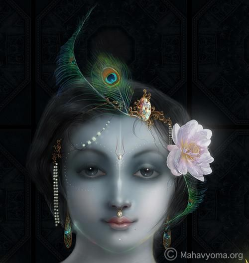 "Krishna - Digital Art by Tarun Kumar in Paintings at touchtalent 20736 Lord Krishna: ""In Sanskrit, the word Krishna means ""all-attractive."" Krishna is the most beautiful, powerful, famous, wealthy, wise and renounced. Since He possesses all these opulences at the same time and in full, He is defined as the Supreme Personality of Godhead."""