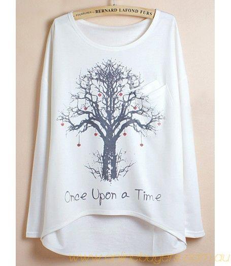 White Batwing Sleeve Wishing Tree Print Dipped Hem T-Shirt