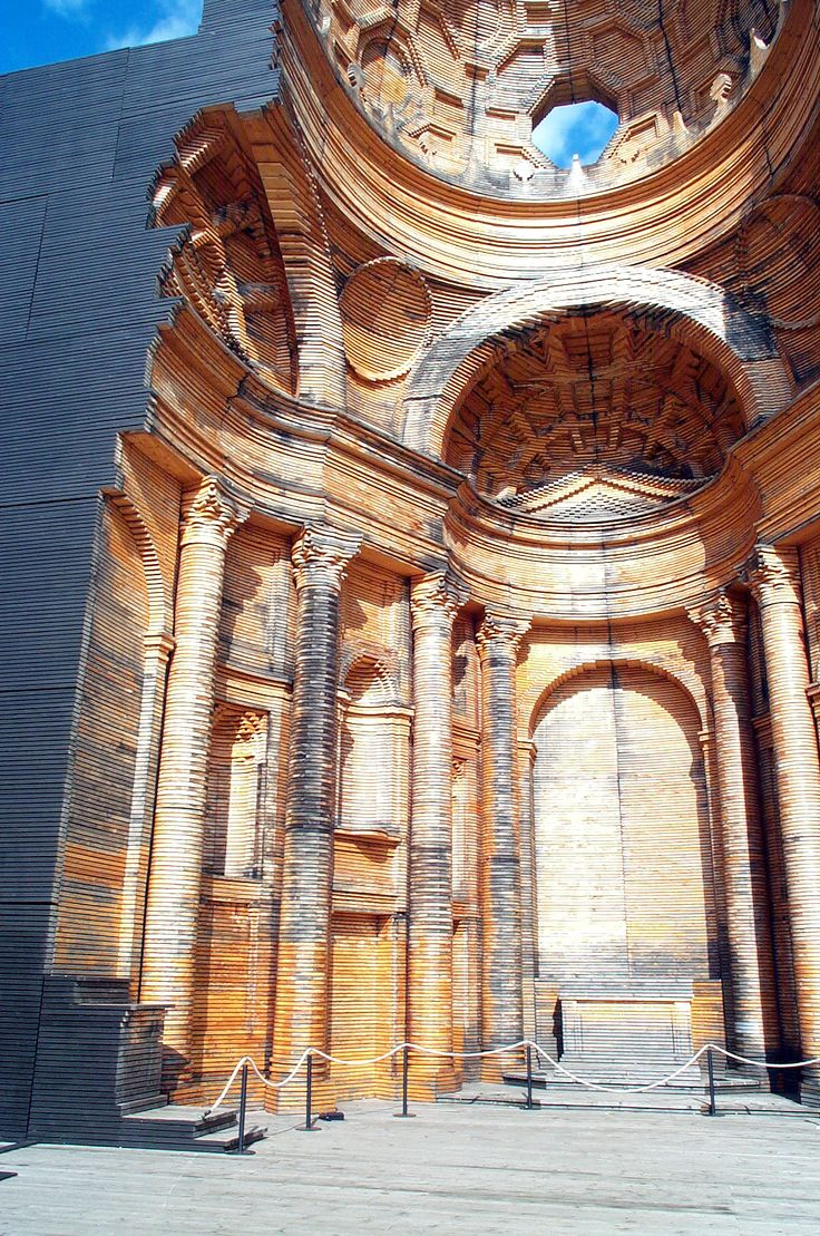 Wooden Model of Borromini's Church o f San Carlo alle Quattro Fontane in Rome , on the lakeshore Lugano, Switzerland 1999-2003