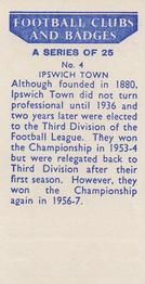 1958 Football Clubs and Badges #4 Ipswich Town Back