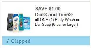 $1 off any One Dial or Tone Body Wash or Bar Soap ($1.97 at Walmart)