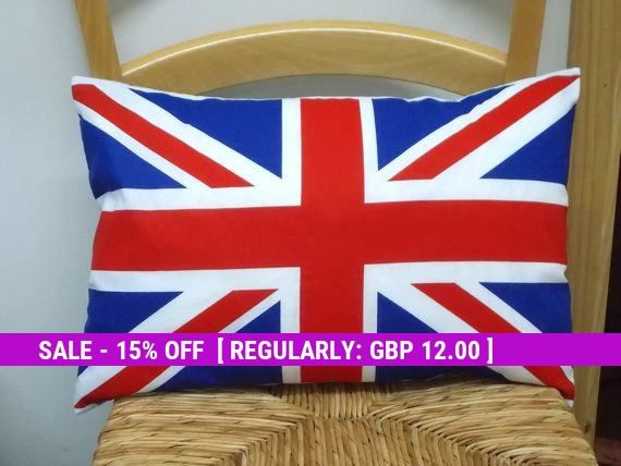 Union Jack pillow, British Flag, Bed Pillows, London themed gifts, Red white and Blue, English theme, England Gift, Lumbar cushions, Trendy
