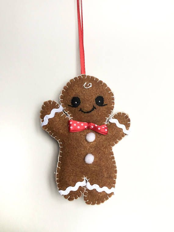 • • • • Gingerbread Men Christmas Felt Decorations • • • • _____________________________________ • About the product • These adorable Gingerbread Men Ornaments are sure to delight anyone. They can be used as Christmas tree decorations, fun stocking stuffers, as well as children's