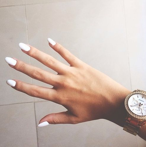 White nails - long almond shape
