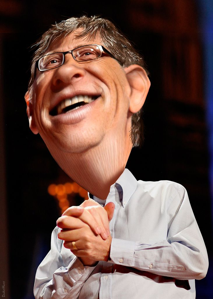 https://flic.kr/p/dJQcve   Bill Gates - Caricature   William Henry Gates III, aka Bill Gates, is the former chief executive and current chairman of Microsoft. He is one of the wealthiest Americans.  The source image for this caricature of Bill Gates is a Creative Commons licensed photo from Steve Jurvetson's Flickr photostream.