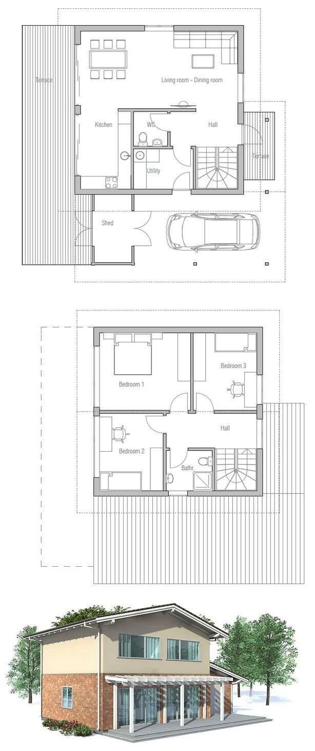 10 best floor plans images on pinterest floor plans home design small house plan to narrow lot full wall height windows in the living area