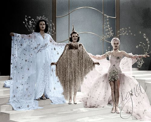 "Stars Hedy Lamar, Judy Garland, and Lana Turner wearing star garb. (Laura Ashworth kindly added this is from the 1940 movie ""Ziegfeld Girl"".)"