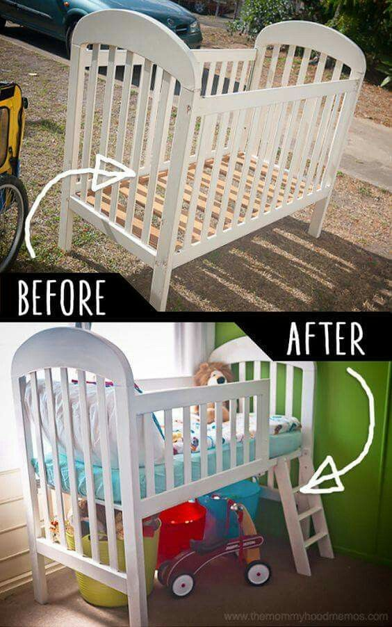 Crib converted to big kid bed