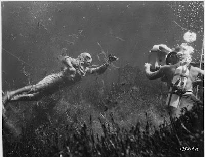 Creature from the Black Lagoon (1954) While working underwater, Reed does not notice the creature. Suddenly Williams appears and after a couple of attempts to shoot the animal with the spear gun, he manages to hit it. The creature, however, manages to get hold of Williams and a dramatic life and death struggle begins between them.