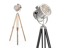 Alfred Tripod Floor Lamp in natural wood | made.com