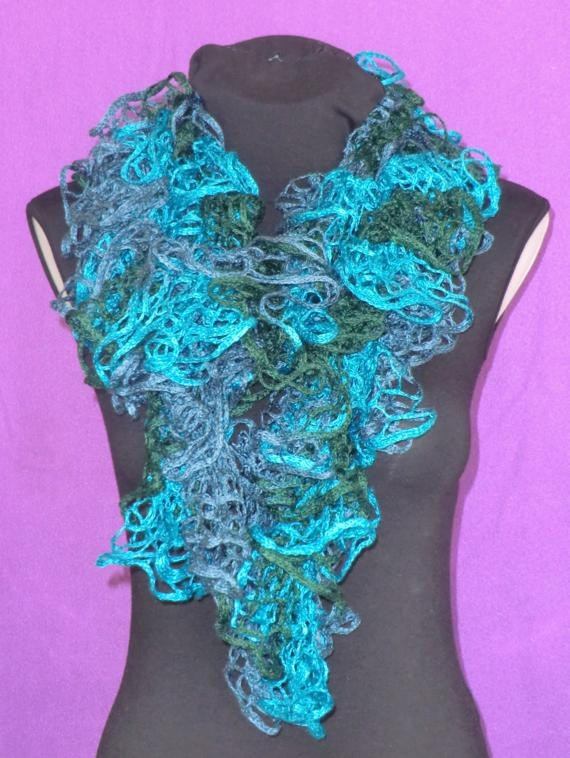 Frilly Ruffle Scarf Blue Teal Turquoise and Green Mix by craftysou, $28.00