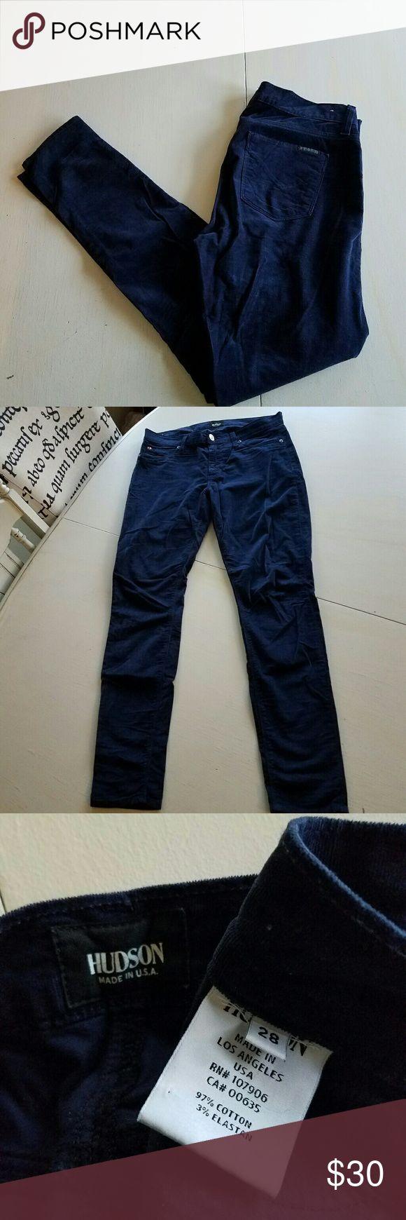 Hudson Micro Cord Pants Adorable skinny Micro Cord Hudson pants.  Dark navy. No trades. Hudson Jeans Pants Skinny
