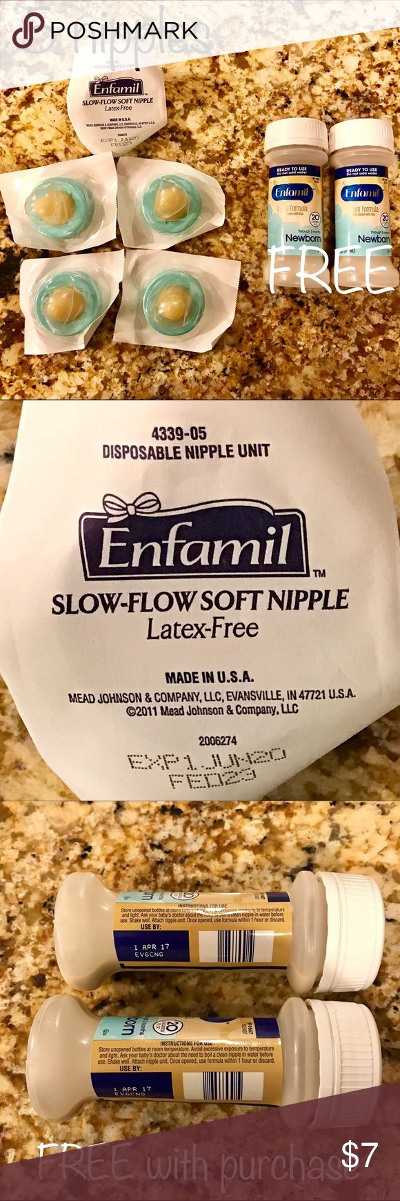 5 sterile nipples + 2 FREE formula Quantity of 5 sterile Enfamil slow-flow soft nipples Latex free Exp. June 2020 Perfect for on the go feedings!  Enjoy purchase with 2 FREE 2 fl oz Enfamil infant formula  Exp. April 2017  Everything is sterile and in original seal Price is firm Bundle and save! Enfamil Other