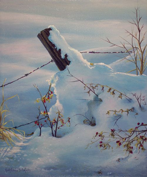 "Painting by Judy Leila Schafers, ""Pretty Cold"", original acrylic, 12"" x 9""  sold.   Fencepost on the Alberta Prairie"