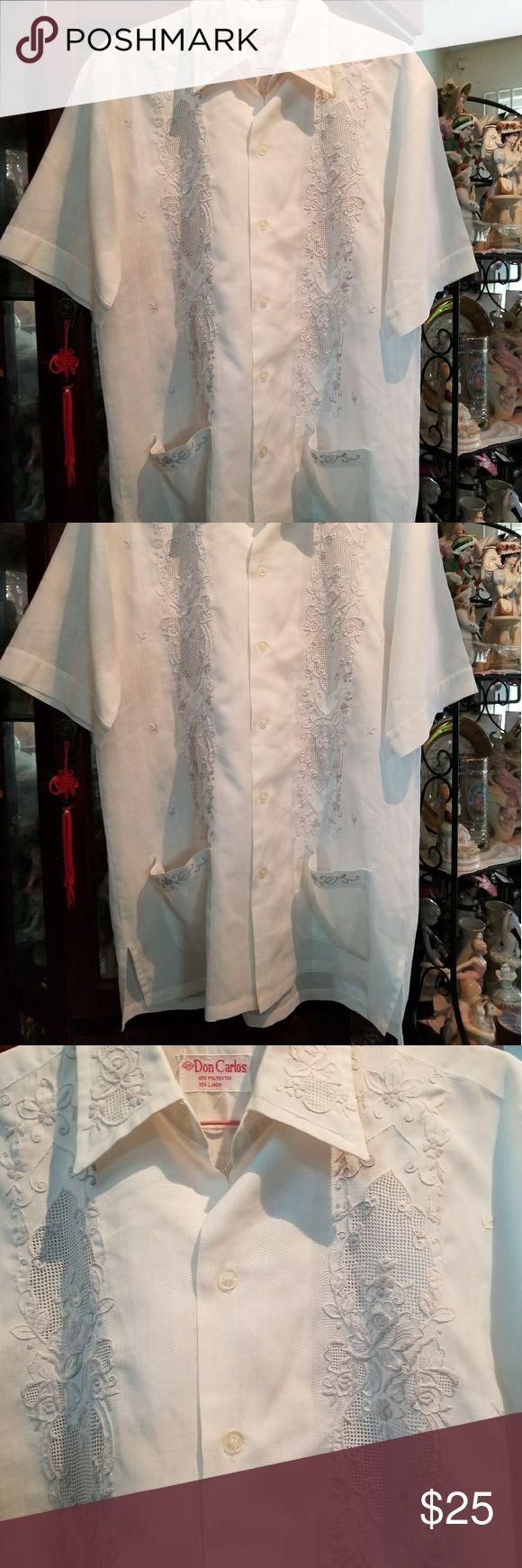 Top (men's) Men's short sleeves Guayabera by Don Carlos  65% polyester and 35% linen. Don Carlos Tops