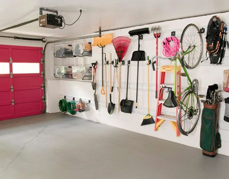 """Gladiator GarageWorks's GearTrack Channels turn a wall into an opportunity. """"It almost makes you want to rake, just so you can have the pleasure of putting it back in its proper place,"""" Selke says. """"When you walk through the space, ask yourself, 'What do I need here? And how can I store it so it requires the least amount of effort to put it back?' Because that's where it falls apart. If it's a hassle, you're not going to do it."""""""