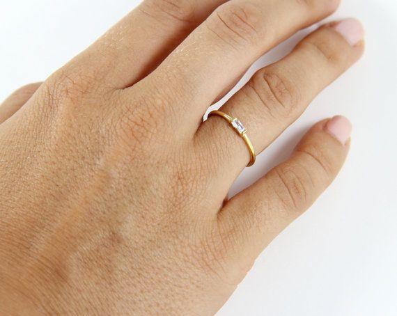 FREE SHIPPING! 14K Baguette Engagement Ring - 14K Engagement Ring - Rose Gold…