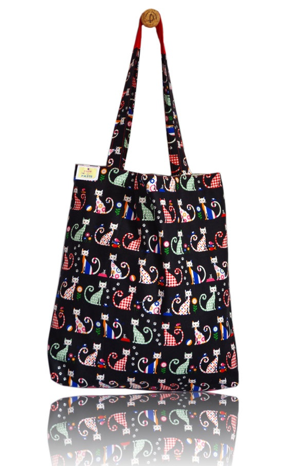 Cheeky Cats Lined Tote Bag - Handmade in London via Etsy